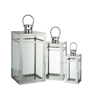 Sada 3 kovových lampášov J-Line, 12,5x12,5x30,5 cm