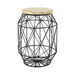 Čierny stolík/stojan s drevenou doskou HF Living Dome
