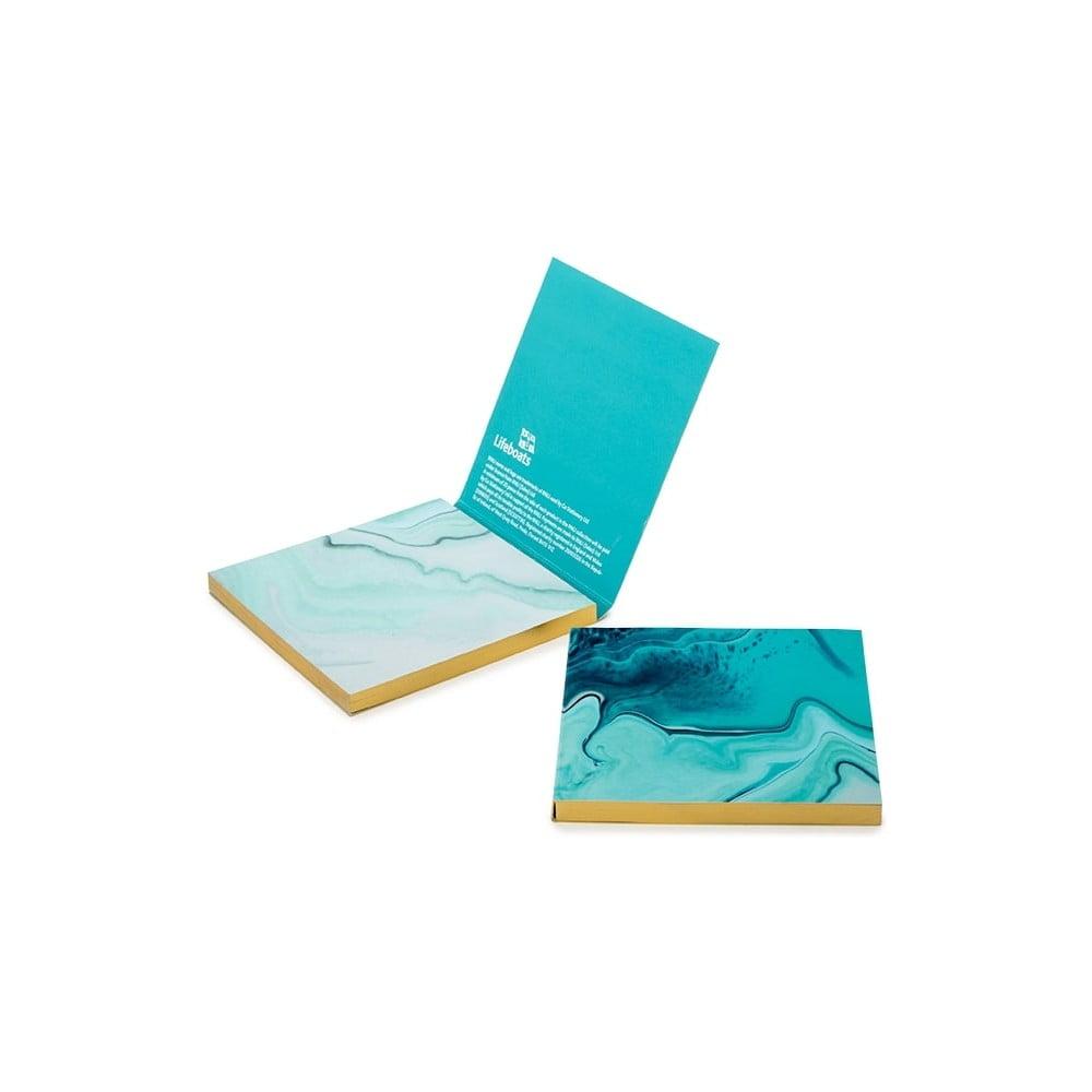 Sada tyrkysovomodrých lepiacich papierikov GO Stationery Aqua Marine