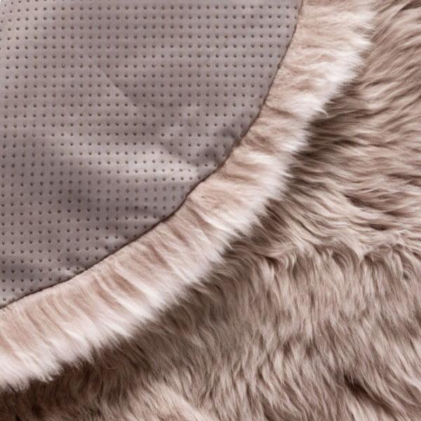 Svetlohnedý okrúhly koberec z ovčej vlny Royal Dream Zealand, Ø70cm