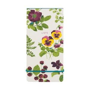 Linajkový poznámkový blok s elastickou gumou Laura Ashley Parma Violets by Portico Designs, 80stránok