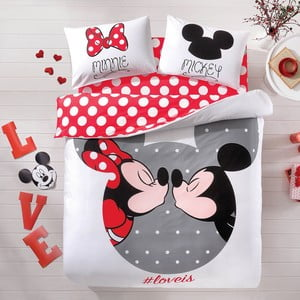Bavlnené obliečky s plachtou na dvojlôžko TAC Mickey&Minnie, 200x220 cm