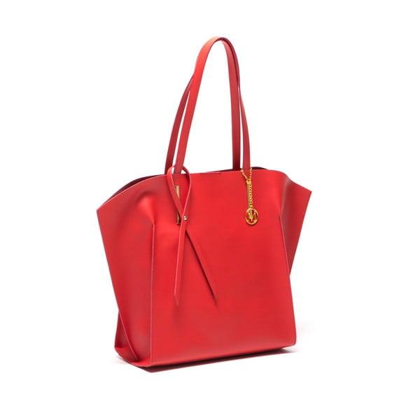 Červená kožená kabelka Mangotti Kalina