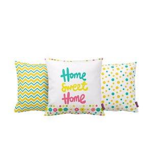 Set 3 vankúšov Home Sweet Home, 43x43 cm