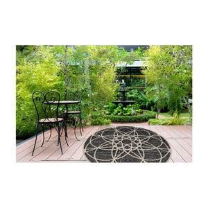 Vysokoodolný koberec vhodný do exteriéru Floorita Tondo Black, ⌀194 cm