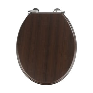 Tmavé WC sedadlo s jednoduchým zatváraním Wenko Wenge, 43 x 37 cm