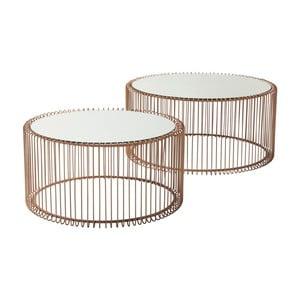 Sada 2 odkladacích stolíkov v dekore medi Kare Design Wire Big