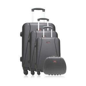 Sada 3 čiernych cestovných kufrov na kolieskach Hero Lanzarote-C