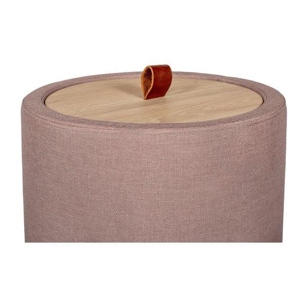 Odkladací stolík v svetloružovej farbe s odnímateľnou doskou z dubového dreva Askala Ibisco, ⌀ 36 cm