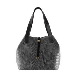 Sivá kožená kabelka Chicca Borse Ilaria