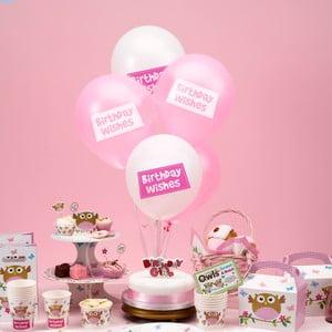 Sada 8 nafukovacích balónkov Neviti Little Owls Birthday Wishes