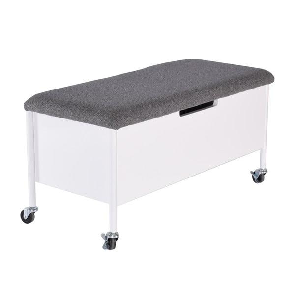 Biela lavica s úložným priestorom RGE Sture, dĺžka 90 cm