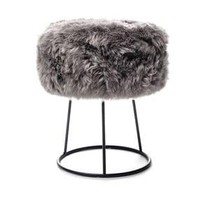 Stolička so sivým sedadlom z ovčej kožušiny Royal Dream, ⌀ 36 cm