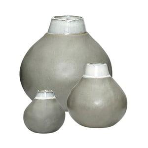 Sada 3 šedých keramických váz Hübsch Pamila