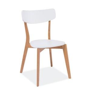 Biela jedálenská stolička s nohami z dubového dreva Signal Mosso