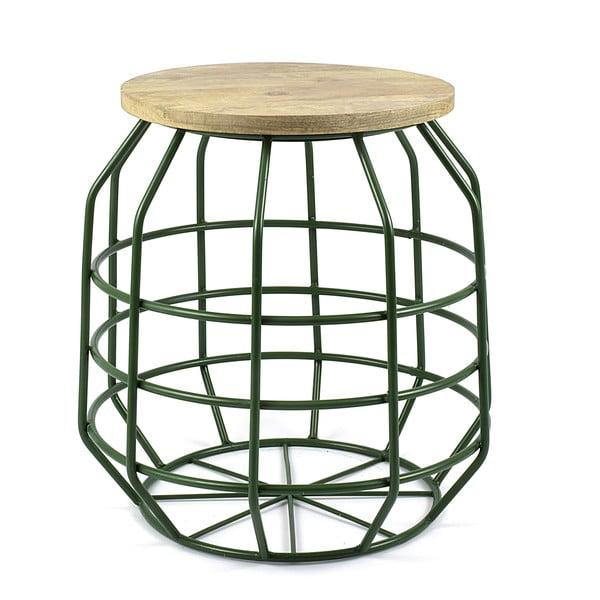Zelený stolík s doskou zmangového dreva HF Living Peak