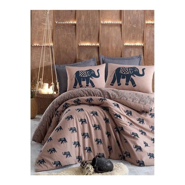 Hnedé posteľné obliečky s prikrývkou na vankúš Elephants, 160×220 cm