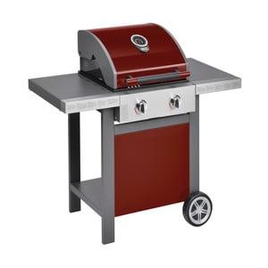 Červený plynový gril s 2 samostatne ovládateľnými horákmi a teplomerom Jamie Oliver BBQ
