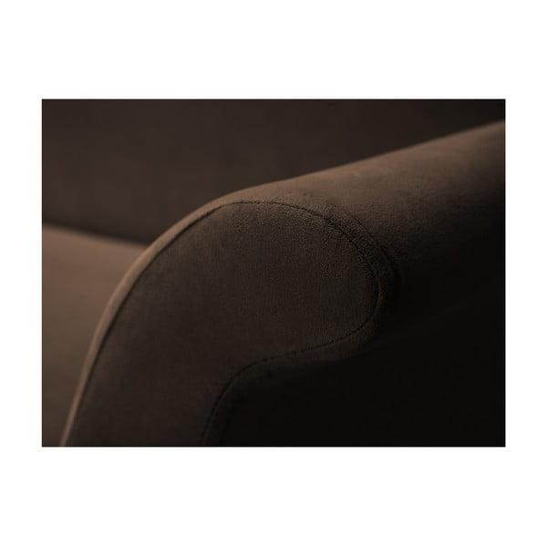 Hnedá rozkladacia trojmiestna pohovka s úložným priestorom Mazzini Sofas Pivoine