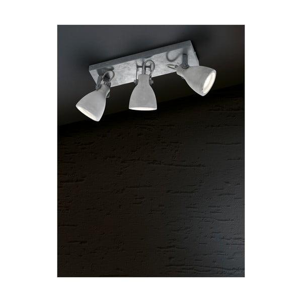 Sivé nástenné svietidlo na 3 žiarovky Trio Concrete, dĺžka 35 cm