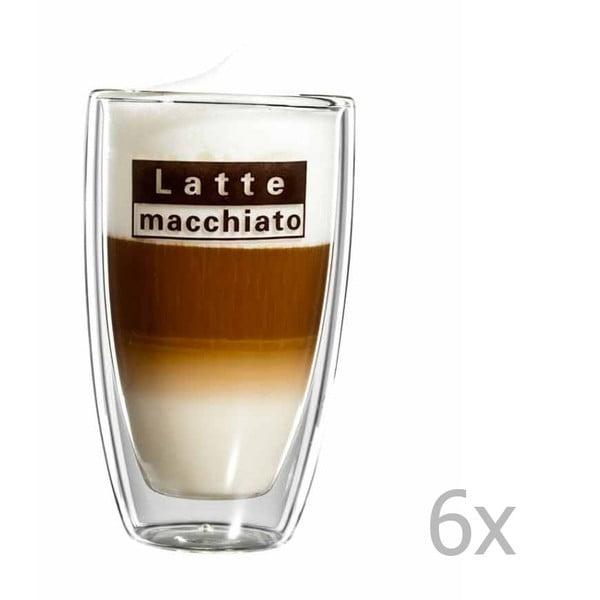 Sada 6 sklenených hrnčekov s logom na latte macchiato bloomix