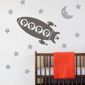 Dekoratívna samolepka na stenu Raketa a zvieratká