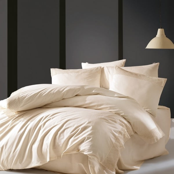 Béžové obliečky z bavlny Cosy Up, 200×220 cm