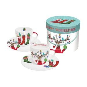 Sada 2 porcelánových šálok na espresso s vianočným motívom v darčekovom balení PPD Happy Witertime, 100 ml