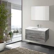 Kúpeľňová skrinka s umývadlom a zrkadlom Flopy, vintage dekor, 90 cm
