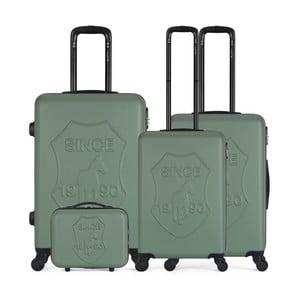 Sada 4 zelených cestovných kufrov na kolieskach GENTLEMAN FARMER Integre & Vanity