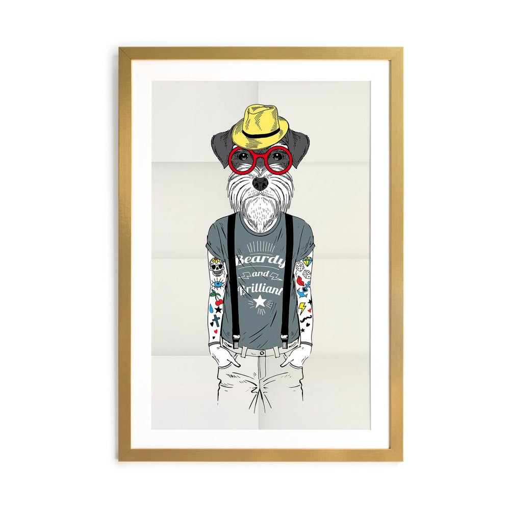 Obraz Little Nice Things Hipster Dog, 65 x 45 cm
