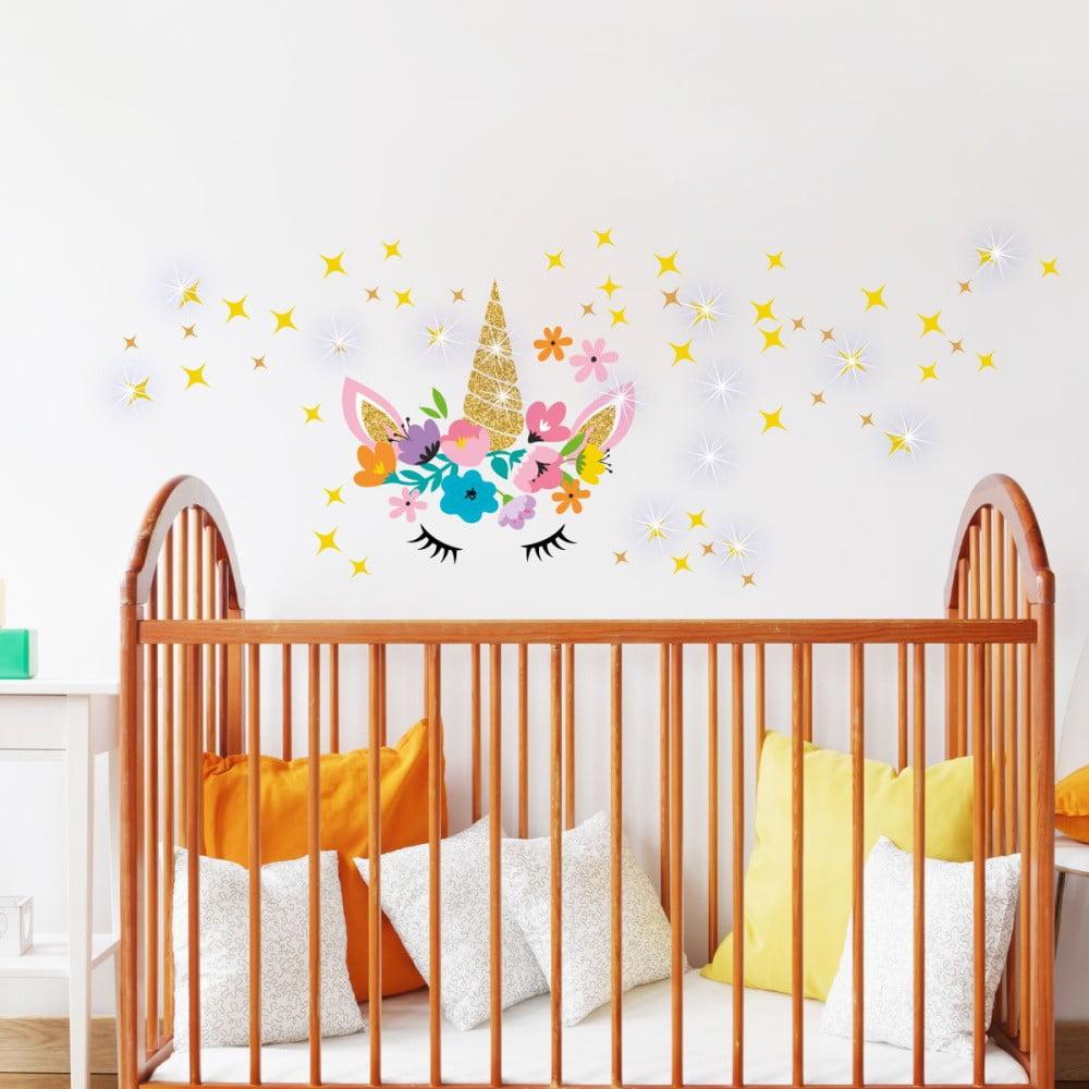 Nástenné detské samolepky Ambiance Unicorn With Stars and Swarovski Crystal