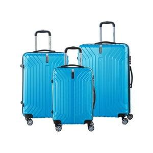 Sada 3 tyrkysove modrých cestovných kufrov na kolieskách so zámkom SINEQUANONE
