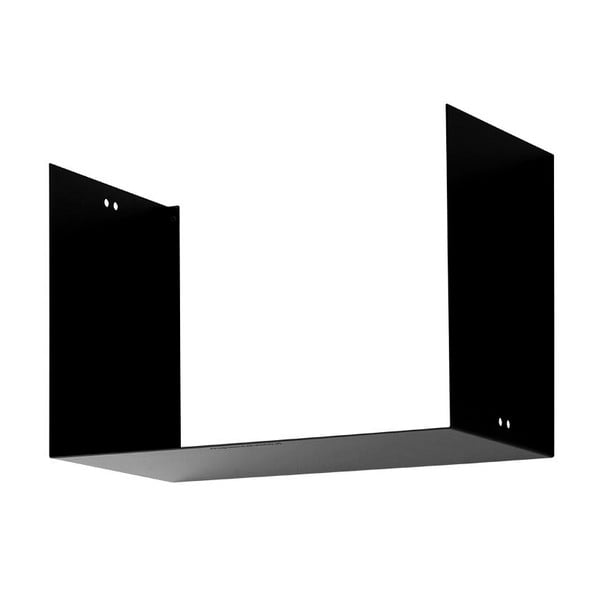 Nástenná polica Geometric Two, čierna