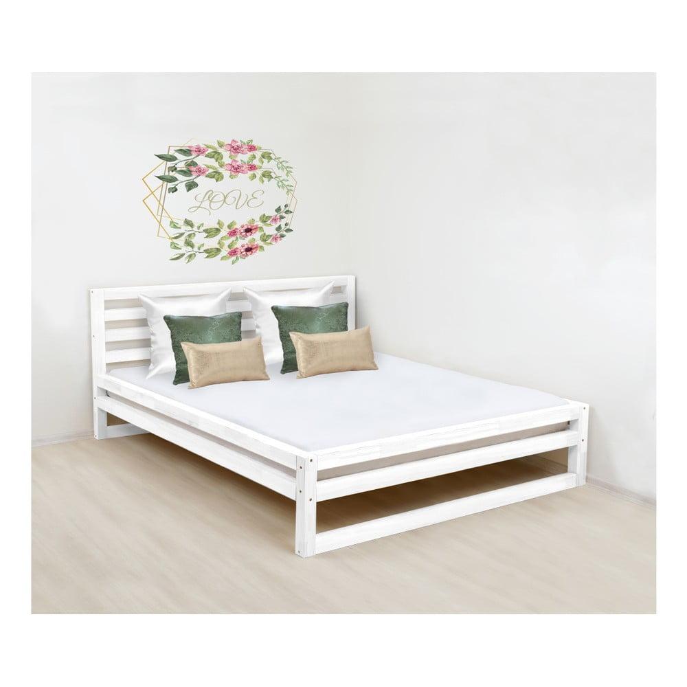 Biela drevená dvojlôžková posteľ Benlemi DeLuxe, 190 × 160 cm