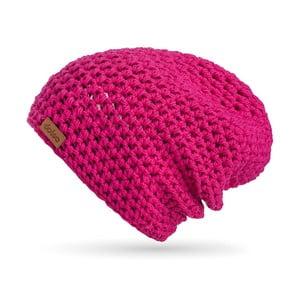 Ružová ručne háčkovaná čiapka z merino vlny DOKE