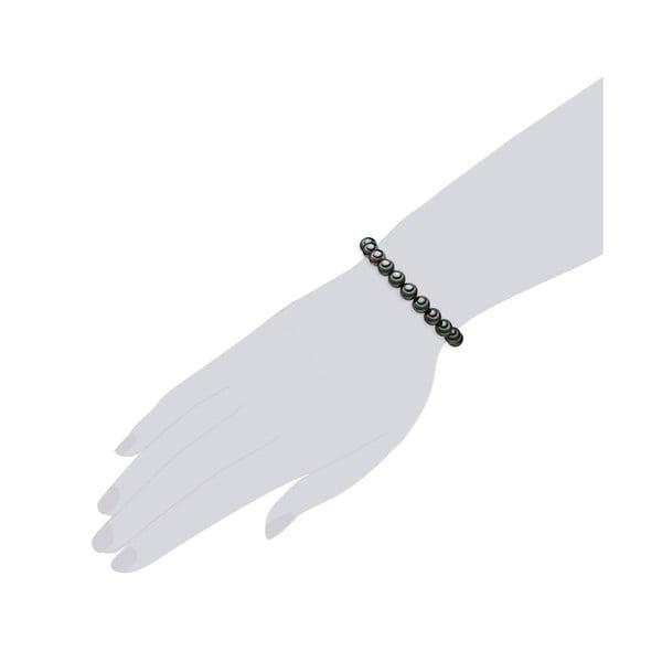 Náramok s antracitovo čiernymi perlami ⌀ 8 mm Perldesse Muschel, dĺžka 18 cm