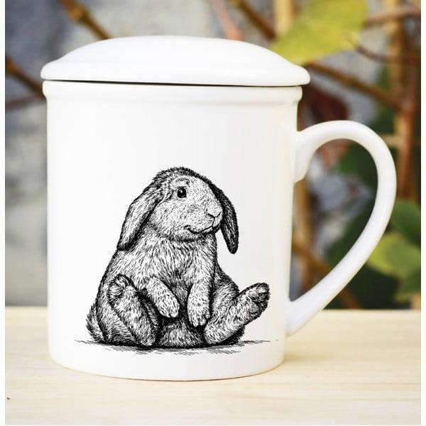 Porcelánový hrnček s viečkom a sitkom Bunny, 300 ml