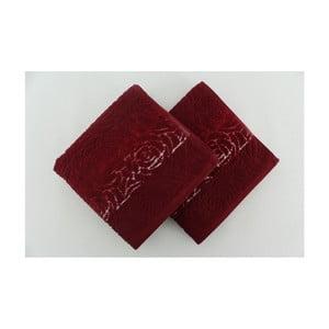 Sada 2 osušiek Perimele Claret Red, 50x90 cm