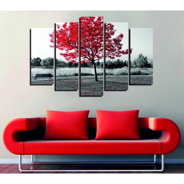 Päťdielny obraz Red Tree