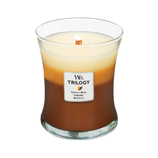 Sviečka s vôňou koláčov, vanilky a karamelu WoodWick Trilogy, doba horenia 60 hodín