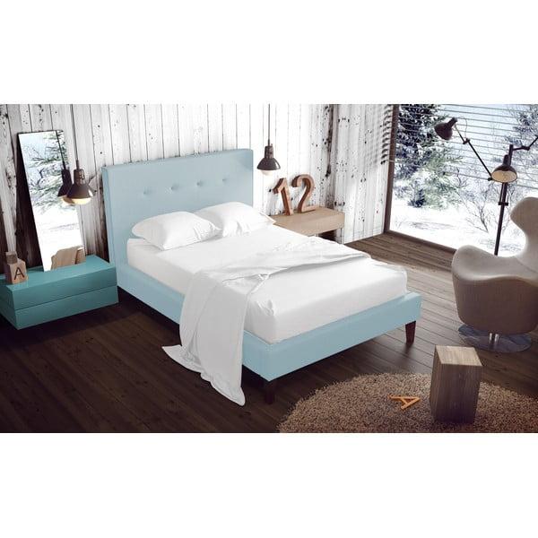 Pastelovomodrá posteľ VIVONITA Kent 160x200cm, prírodné nohy