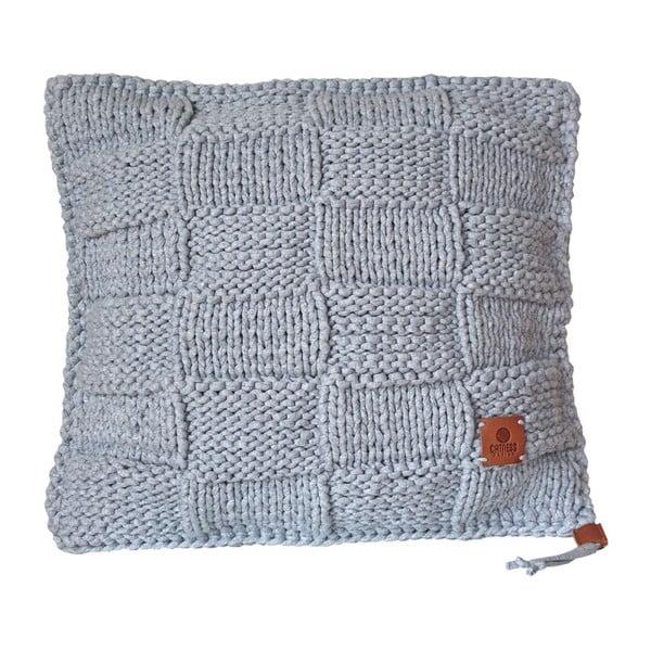 Pletený vankúš Catness, sivá kocka, 50x50 cm
