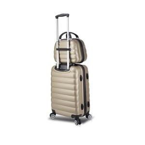Sada zlatého cestovného kufra na kolieskach s USB portom a príručného kufríka My Valice RESSNO MU & Cabin