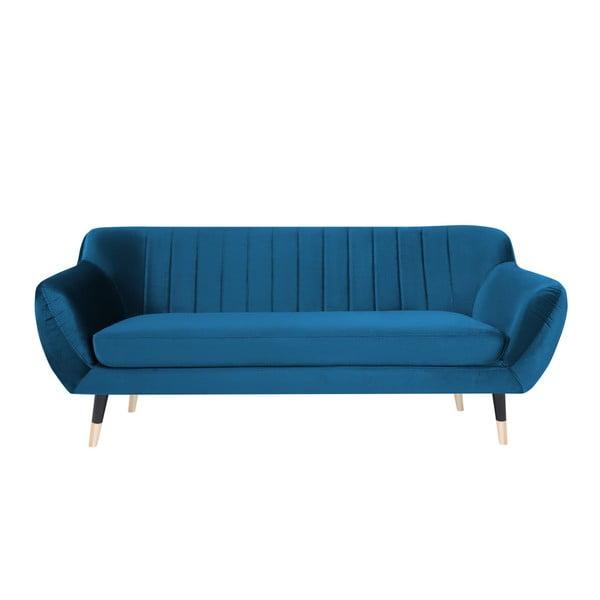 Modrá trojmiestna pohovka s čiernymi nohami Mazzini Sofas Benito