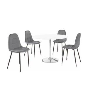 Sada okrúhleho jedálenského stola a 4 sivých stoličiek Støraa Terri