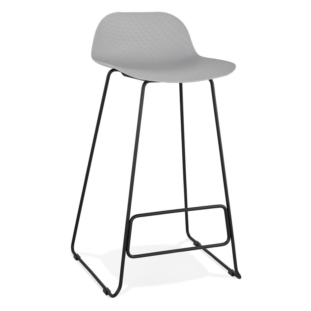 Sivá barová stolička s čiernymi nohami Kokoon Slade, výška sedu 76 cm