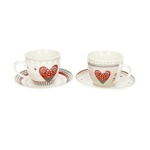 Sada 2 hrnčekov s tanierikmi z čínského porcelánu Brandani Happy Days