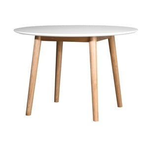 Biely jedálenský stôl s konštrukciou z dubového dreva WERMA Eelis, ⌀110 cm
