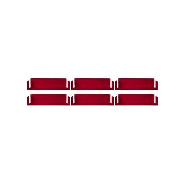Sada šiestich neviditeľných políc Linéaire U, červené